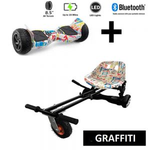 8.5″ All Terrain Graffiti Hummer Hoverboard and GoMonster Graffiti Hoverkart Ultimate Bundle