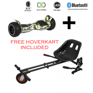 FREE Hoverkart with 8.5″ All Terrain Camo Hummer Hoverboard – The Ultimate Bundle
