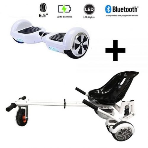 Monster Hoverkart And 6.5″ Bluetooth Hoverboard Racing White Go Monster Bundle