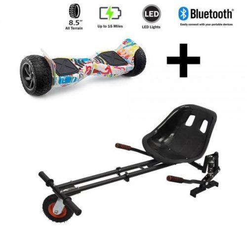 8.5″ All Terrain Graffiti Hummer Hoverboard and GoMonster Hoverkart Ultimate Bundle