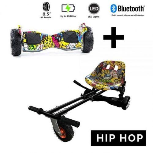 8.5″ All Terrain Hip Hop Hummer Hoverboard and GoMonster Hip Hop Hoverkart Ultimate Bundle