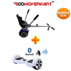 Hoverkart And 6.5″ Bluetooth Hoverboard Racing White Go Racer Bundle
