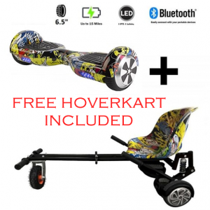 FREE Monster Hoverkart with 6.5″ Bluetooth Hoverboard All Hip Hop Go Monster Bundle