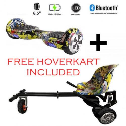 FREE Monster Hoverkart with 6.5″ Bluetooth Hoverboard All Hip Hop Go Monster Bundle
