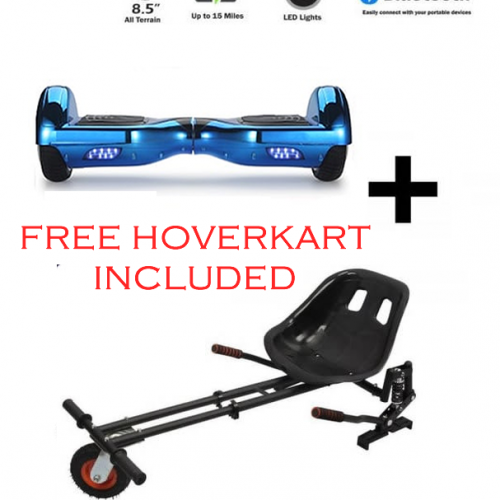 FREE Monster Hoverkart with 6.5″ Chrome Bluetooth Hoverboard Bundle – Choose Your Colour