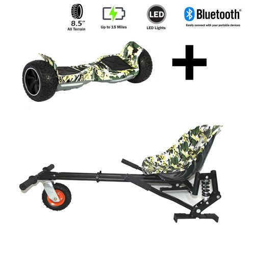 FREE Hoverkart with 8.5″ All Terrain All Camo Hummer Hoverboard – The Ultimate Bundle